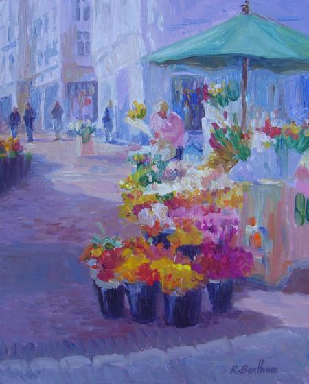Sunshine on Flowers, Grafton Street, 10 X 8 (Oil) - Sold