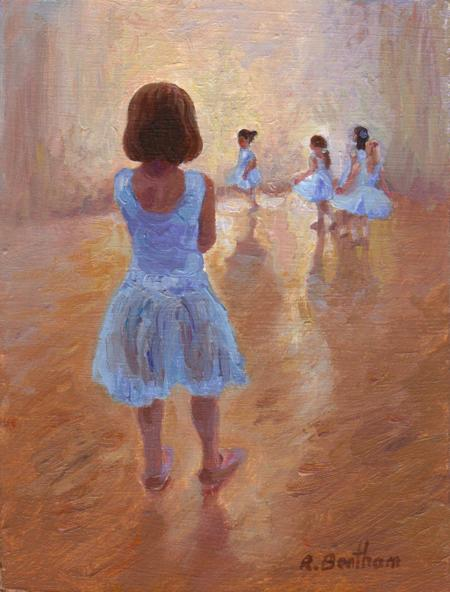 Tiny Ballerinas, 8 X 6 (Oil) - Sold