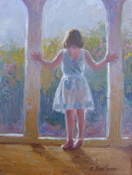 Ballerina at the Window, 8 X 6 (Oil) - Sold
