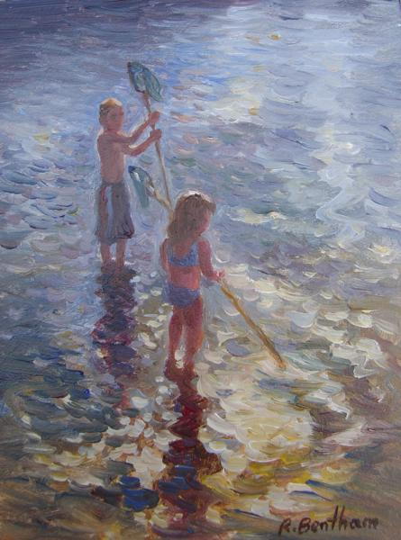 Net Fishing, 8 X 6 (Oil) - Sold