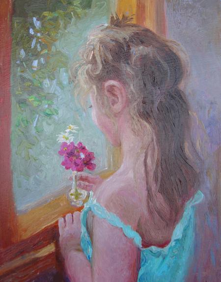 Arranging a Flower, 10 X 8 (Oil) - Sold