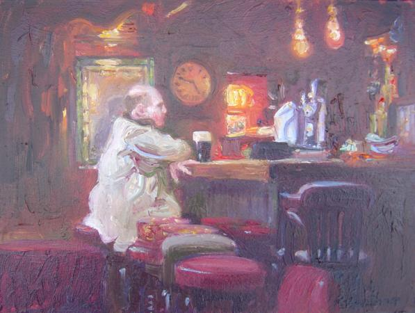 10 to 5, Danns Pub, 6 X 8 (Oil) - Sold