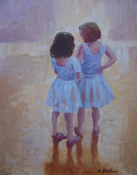 Ballerinas, A Quiet Moment, 8 X 6 (Oil) - Sold