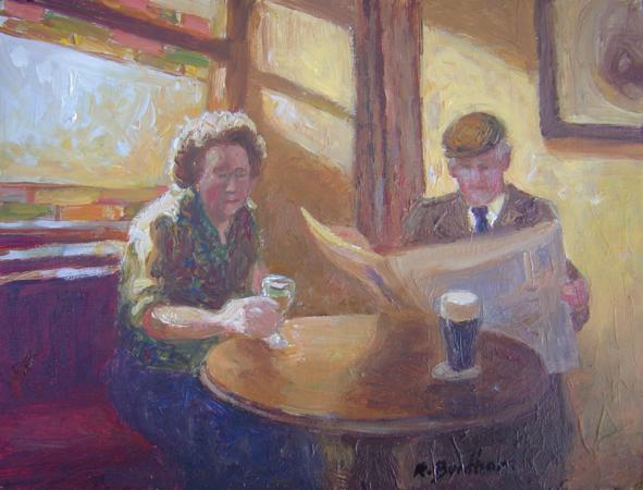 Sunday in the Pub, 6 X 8 (Oil) - Sold