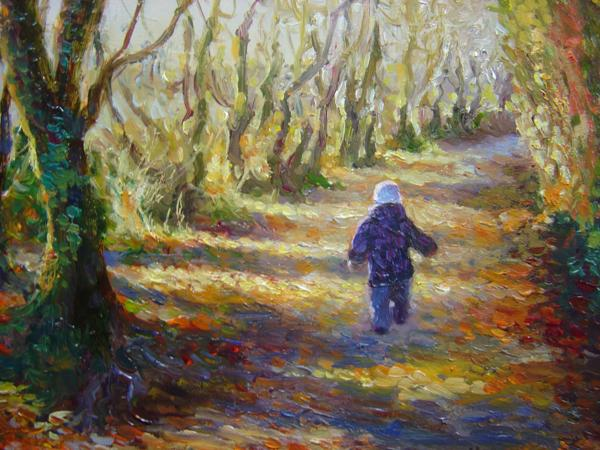 Autumn Stroll, 9 X 10 (Oil) - Sold