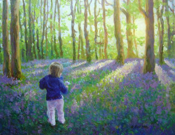 Aoise in the Bluebell Forest, 14 X 18 (Oil) - Sold