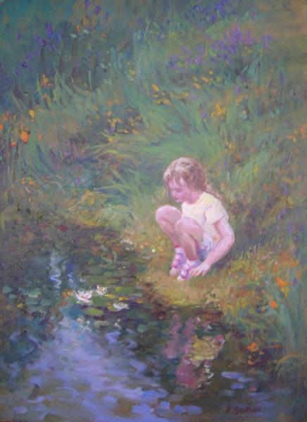 Beside the Lily Pond, 16 X 12 (Oil)