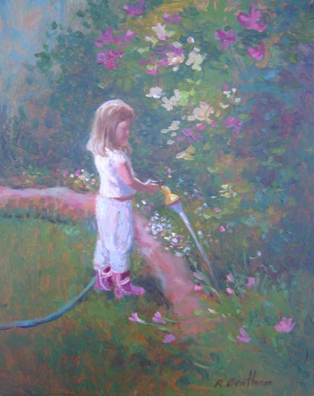 Watering the Flowers, 10 X 8 (Oil) - Sold