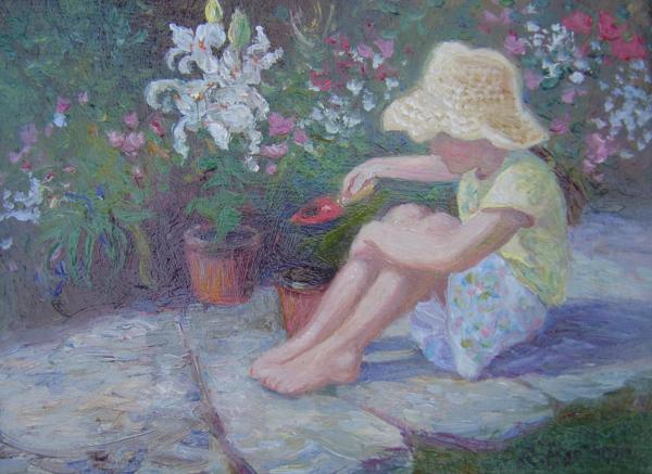Potting Flowers, 8 X 10 (Oil) - Sold