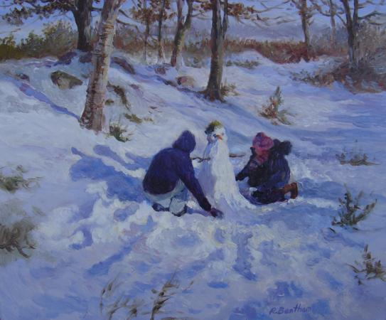 Building a Snowman, 10 X 12 (Oil) - Sold