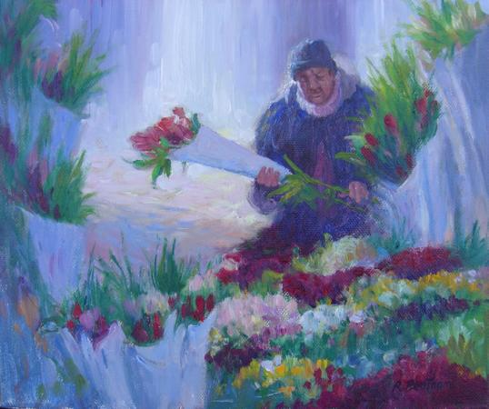 Flower Seller, A Cold Day, 10 X 12 (Oil)
