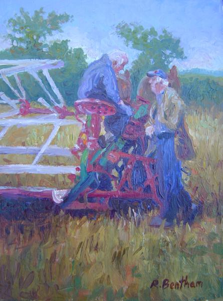 Talking Threshing, 8 X 8 (Oil)