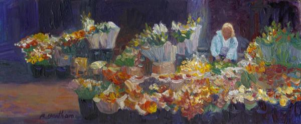 Arranging the Flowers, 5 X 12 (Oil) - Sold