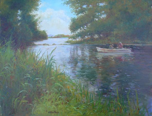 Fishing on the River, 16 X 20 (Oil) - Sold
