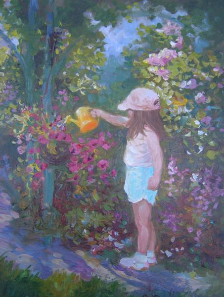 Watering the Garden, 10 X 8 (Oil) - Sold