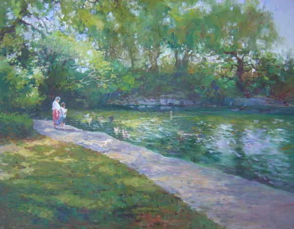 Feeding the Ducks, 16 X 20, (Oil) - Sold