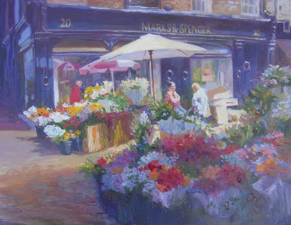 Flower Sellers, Grafton Street, 14 X 18 (Oil) - Sold