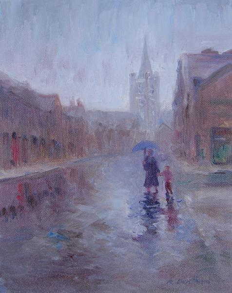 Rainy Day, The Liberties, 10 X 8 (Oil) - Sold