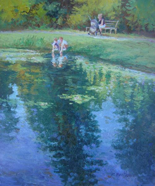 Beside the Pond, 14 X 10 (Oil) - Sold