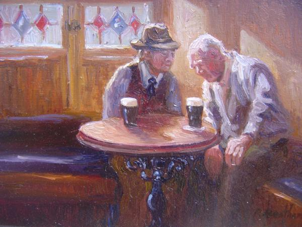 In an Irish Pub, 6 X 8 (Oil) - Sold
