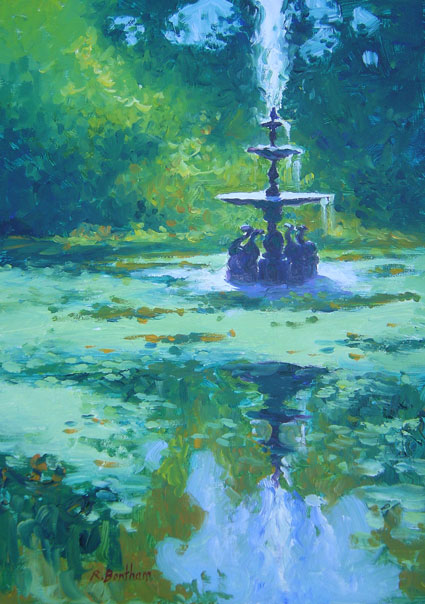 The Fountain in the Dolphin Pond, Powerscourt Estate, 14 X 10 (Oil)