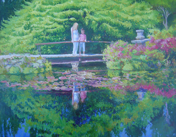 On the Bridge Japanese Gardens, Powerscourt Estate, 24 X 28 (Oil)