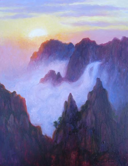 Sunrise The Yellow Mountains, China, 18 X 14 (Oil) - Sold