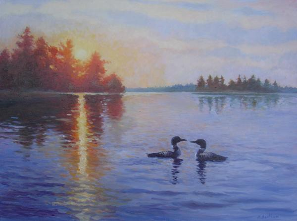 Loons, Sunrise Honey Harbour (Commission), 18 X 24 (Oil) - Sold