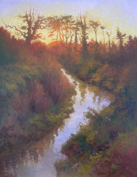 Sunset, Three Trout Stream, 20 X 16 (Oil) - Sold