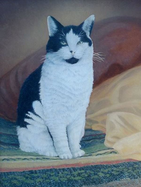Contented Cat (Commission), (Acrylic) - Sold
