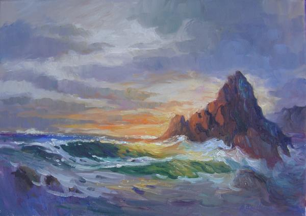 Stormy Sea, Sunset, 10 X 14 (Oil) - Sold