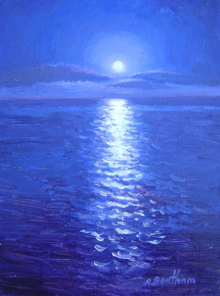 Moonrise on the Sea, 8 X 6 (Oil) - Sold